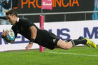 The ABs' Cory Jane dives over for a late try at Estadio Ciudad de La Plata. Photo / David Rogers/Getty Images