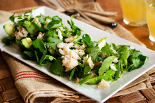 Avocado and crab with snowpeas and mirin. Photo / Babiche Martens