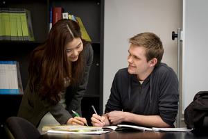 Korean teacher Jung Eun Seo and student Tim Haines. Photo / Richard Robinson