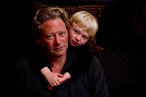 The broken gangway was left hanging by its hinges.Carl Saunders with his 4-year-old son, Kiel. Photo / Dean Purcell