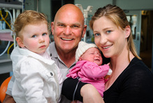 Rodney Hide with his wife Louise, daughter Liberty and new born baby girl Grace at Wellington Hospital. Photo / Mark Coote