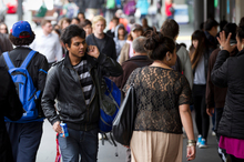 The face of Auckland city is slowly changing as students from all ethnicities merge. Photo / Greg Bowker