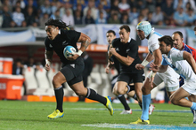 Ma'a Nonu of the All Blacks breaks clear to set up the first try for Aaron Smith during the Rugby Championship match between Argentina and the All Blacks. Photo / Getty Images