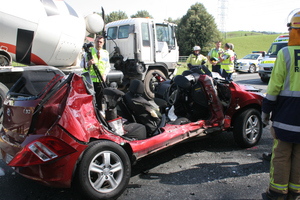 Newlyweds Kallan Stithem and Kirsten Steinke were struck by a cement-mix truck as they turned out of Waitomo Caves Rd. Photo / Waitomo News