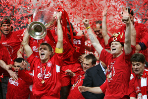Liverpool captain Steven Gerrard with the European Cup.  Photo / AP