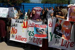 Moroccan women protest the scheduled arrival of a Dutch ship advocating safe and legal abortions in Smir, Morocco. Photo / AP