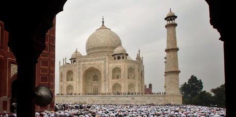 Indian Muslims offer Eid al-Fitr prayer at Shahi Masjid at the famous Taj Mahal in Agra, India. Photo / AP