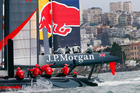 Artemis jostles for position during fleet racing in San Francisco Bay. Picture / APLuna Rossa buries its leeward hull.  Photo / AP