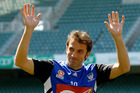 Alessandro Del Piero waves during a training session. Photo / Rick Rycroft