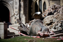 One of the church bells dug from the rubble of the Christ Church Cathedral tower. Photo / Dean Purcell