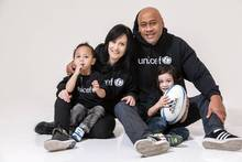 Nadene and Jonah Lomu, with their kids, support Unicef's campaign.