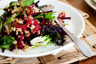 Quinoa, preserved lemon, sesame and beetroot salad. Photo / Babiche Martens
