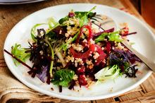Quinoa, preserved lemon, sesame and beetroot salad. Photo / Babiche Martens