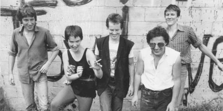 Toy Love in their heyday, from left, Alec Bathgate, Jane Walker, Mike Dooley, Chris Knox and Paul Kean. Photo / Supplied
