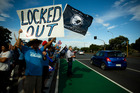 Members of the Maritime Union protesting outside the Ports of Auckland in March this year. Photo / Dean Purcell