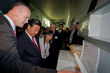 Fisher and Paykel CEO Stuart Broadhurst, left, shows off the company's appliances  to Xi Jinping Chinese Vice President, during a recent state visit. Photo / NZ Herald