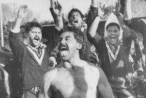Kevin Tamati leads a haka, supported by Joe Ropati, Hugh McGahan and Olsen Filipaina, after the Kiwis thrashed the Kangaroos at Carlaw Park in 1985. Photo / NZ Herald