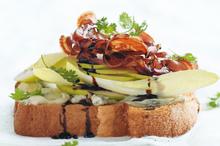 Pear, pancetta and blue cheese sandwiches. Photo / Chris Court