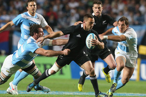Aaron Cruden has spoken of his disappointment at being targeted by a laser beam shone from the crowd at the Ciudad de La Plata Stadium. Photo / Getty Images.