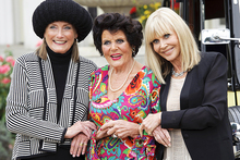 Tania Mallet, Eunice Gayson and Britt Ekland pose at Bond's 50th anniversary celebrations in London. Photo / AP