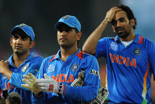 MS Dhoni (middle) along with teammates Gautam Gambhir (left) and Zaheer Khan of India. Photo / Getty Images