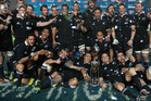 The All Blacks celebrate after winning the inaugural Rugby Chamionship after their victory in the Rugby Championship match between Argentina and the New Zealand. Photo / Getty Images.