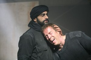 Navid Negahban, left, portrays Abu Nazir with Damian Lewis as Nicholas Brody in Homeland. Photo / TV3