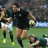 Hosea Gear of the All Blacks makes a break from Jean de Villiers.Photo / Getty Images