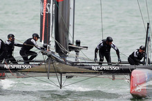 Team New Zealand's final of the match racing championship at the America's Cup World Series in San Francisco was over before it began after an error in the start box cost them the race. Photo / AP
