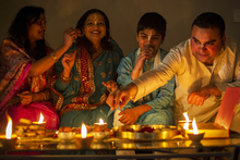 Diwali Celebrations at the Desai family home. (From left) Namrata Patil, Maithilie Desai, Jay Desai (13) and Ambrish Desai. Photo / Ted Baghurst