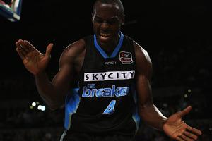 Cedric Jackson of the Breakers celebrates a point during the round two NBL match between the New Zealand Breakers and the Adelaide 36ers at Vector Arena. Photo / Getty Images.