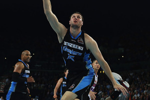 Alex Pledger of the Breakers lays the ball up during the round two NBL match between the New Zealand Breakers and the Adelaide 36ers. Photo / Getty Images.