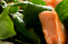 Asparagus and baked salmon salad with oyster sauce and mirin. Photo / Babiche Martens