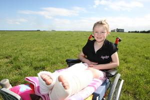 Tabitha Barwell has both legs in plaster.Photo / Ashburton Guardian