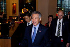Mr Lee Hsien Loong, Prime Minister of the Republic of Singapore arriving for dinner with Asia New Zealand Foundation at Stamford Plaza hotel in Auckland. Photo / NZ Herald