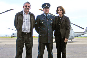 Anzac Day crash victim Ben Carson with his parents, Andrew and Pauline, in 2009, when he graduated as an air crewman. Photo / Supplied