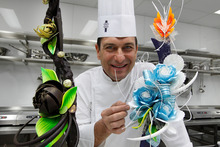 Le Cordon Bleu technical director Fabrice Danniel with some of his chocolate and sugar sculptures. Photo / Mark Mitchell