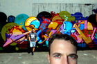 American graffiti artist Jurne (foreground) with Auckland graffiti artist Bobby Hung. Photo / Brett Phibbs