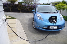 Refuelling time for Juicepoint director Mark Yates' all-electric Nissan Leaf. Photo / Supplied