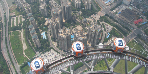 The view from the top of the Guangzhou Tower. Photo / Grant Bradley