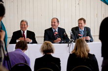 Party leaders (from left) Winston Peters, David Shearer and Russel Norman put on a united front at yesterday's summit. Picture / Dean Purcell