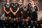Players - representing the teams of Maori All Blacks, All Blacks, sevens, women's sevens, under-20 men and Black Ferns - modelling the new jerseys. Photo / Natalie Slade