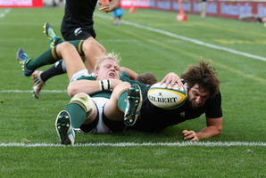 Sam Whitelock dives over for a try during the Rugby Championship match between South Africa Springboks and the All Blacks. Photo / Getty Images