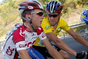 Lance Armstrong and compatriot Tyler Hamilton ride during the 4th stage of the Dauphine-Libere cycling race in 2003.Photo / AP