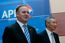 New Zealand Prime Minister John Key and Singapore Prime Minister Lee Hsien Loong at the Apec summit in Russia last month. Photo / AP