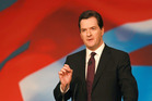 British Chancellor of the Exchequer George Osborne addresses the Conservative Conference at Birmingham's International Convention Centre. Photo / AP