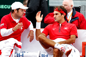Swiss Roger Federer with coach Severin Luthi. Photo / AP
