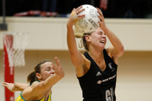 Casey Williams at her best - securing the ball under pressure against Australia. Photo / Mark Mitchell