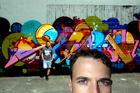 American graffiti artist Jurne (pronounced Journey), (foreground), with Auckland graffiti artist Bobby Hung. Jurne will be judging the graffiti art competition at the Southside Arts festival. Photo / Brett Phibbs