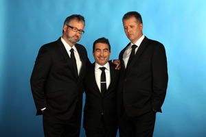 7 Days stars (from left) Jeremy Corbett, Dai Henwood and Paul Ego can still make us laugh after 100 episodes. Photo / Herald on Sunday